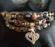 3 Strand Earth Toned Bracelet with Charm Arm Candy